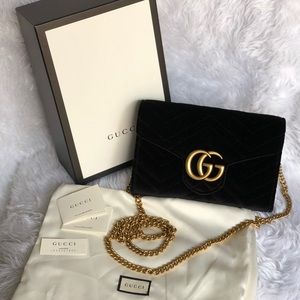 Gucci Marmont Wallet on Chain Black Velvet
